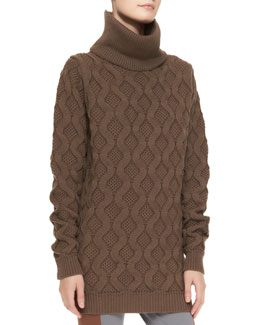 Marc Jacobs Turtleneck Cashmere Knit Sweaterdress, Cocoa