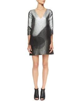 Marc Jacobs Metallic Minidress with Swirling Peplum