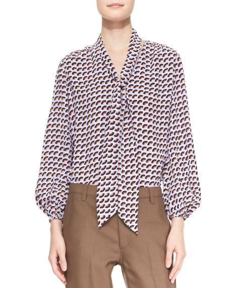 Long-Sleeve Slice-Print Tie-Front Blouse