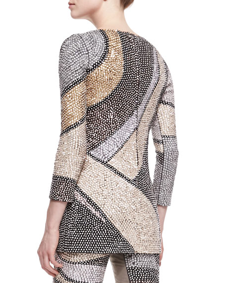 Wool Sequin Wave 3/4-Sleeve Tunic