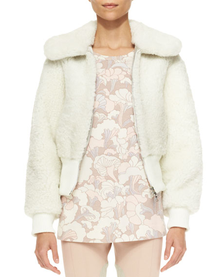 Shearling Fur Cropped Bomber Jacket