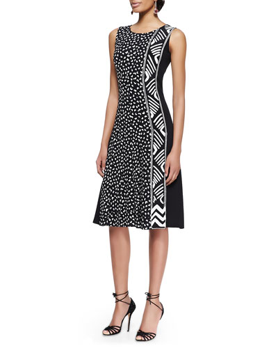 Oscar de la Renta Sleeveless Heart-Print Dress With Pleats