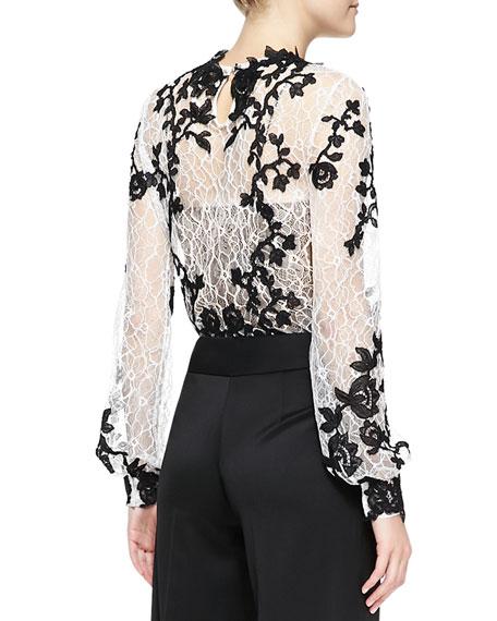 Long-Sleeve Embellished Lace Blouse
