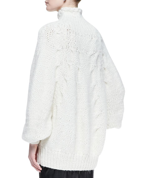 Dolman-Sleeve Cable Sweater