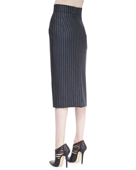 Midi Pinstriped Pencil Skirt, Charcoal