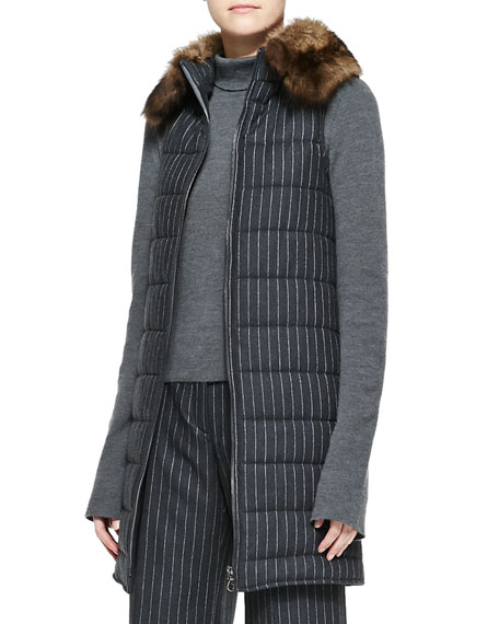 Pinstripe Puffer Vest with Fur Collar