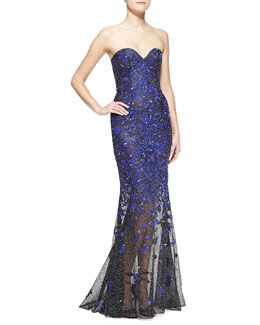 Oscar de la Renta Strapless Beaded Embroidered Mermaid Gown