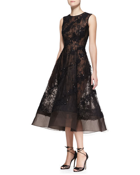 Sleeveless Sheer Lace Beaded Dress