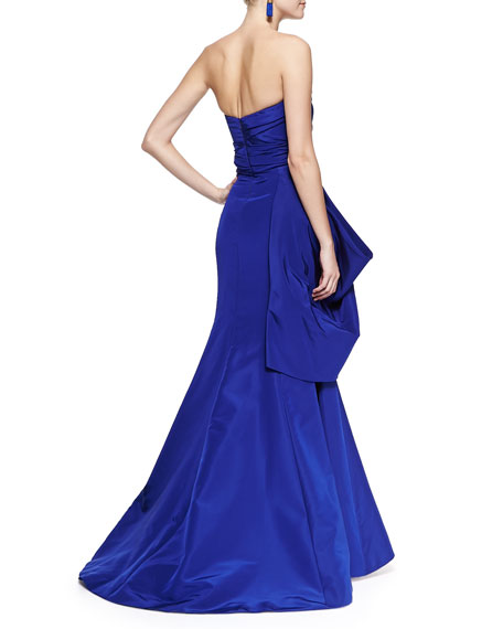 Strapless Drape Flare Gown