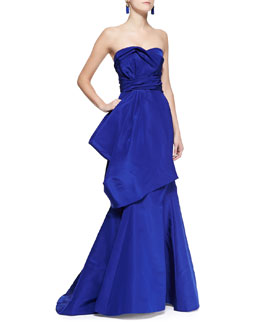 Oscar de la Renta Strapless Drape Flare Gown