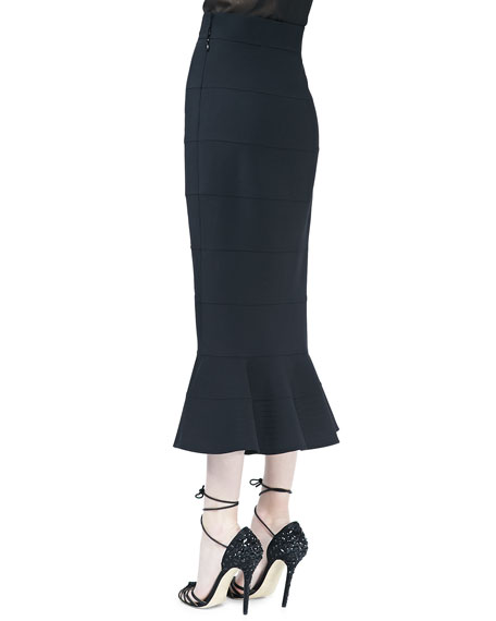 Midi Skirt with Peplum Flare, Black