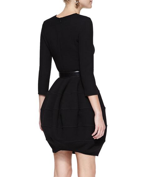 Long-Sleeve Bubble-Skirt Dress