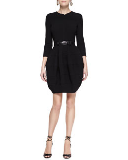 Oscar de la Renta Long-Sleeve Bubble-Skirt Dress