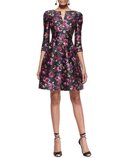 Oscar de la Renta 3/4-Sleeve Rose-Print Dress