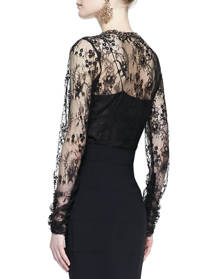 Metallic-Embroidered Lace Blouse, Black/Gold
