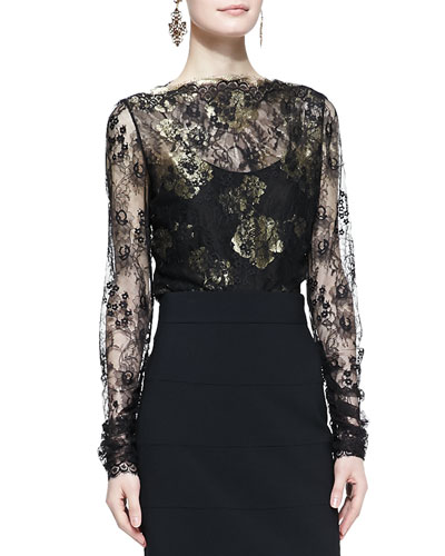 Oscar de la Renta Metallic-Embroidered Lace Blouse, Black/Gold