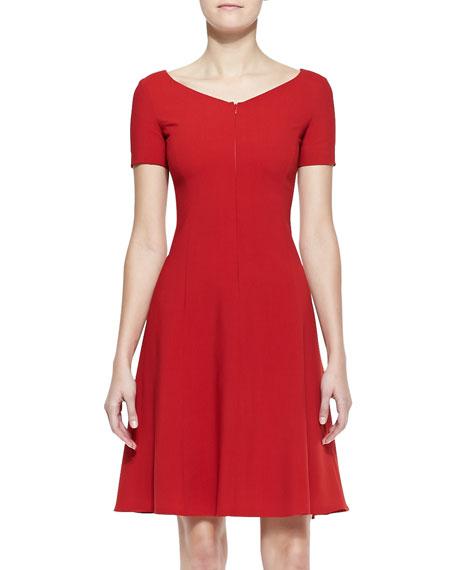 Short-Sleeve Front-Zip Dress With Full Skirt