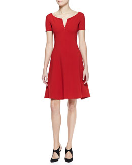 Armani Collezioni Short-Sleeve Front-Zip Dress With Full Skirt