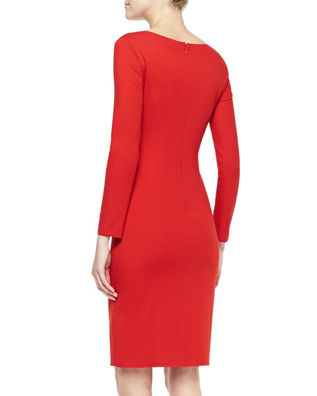 Long-Sleeve Sheath Dress with Draped Sash Detail