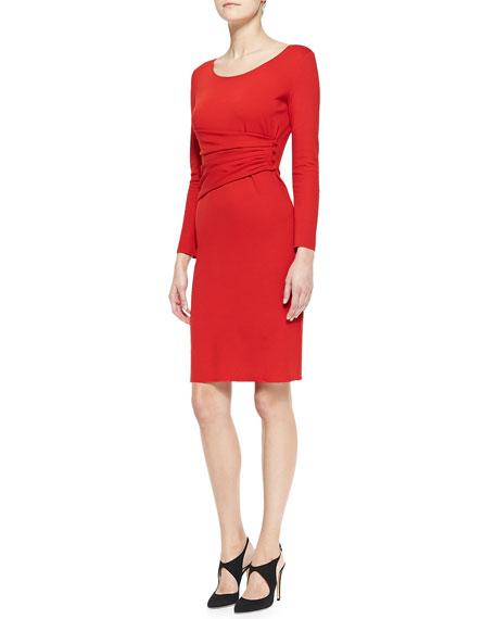 Long-Sleeve Sheath Dress with Draped Sash Detail