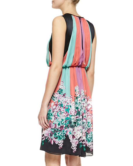 Sleeveless Striped & Floral-Print A-line Dress
