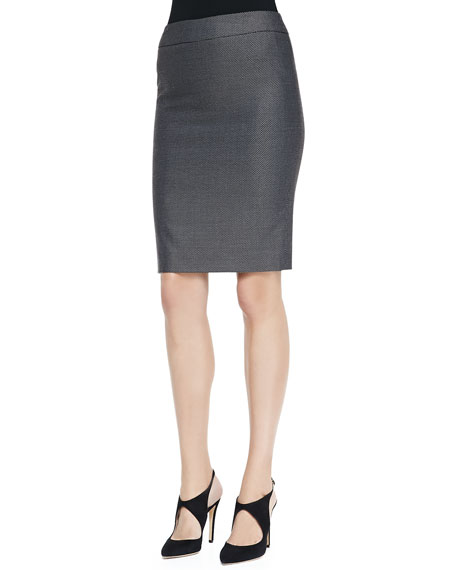 Armani Collezioni Birdseye Woven Wool-Silk Pencil Skirt