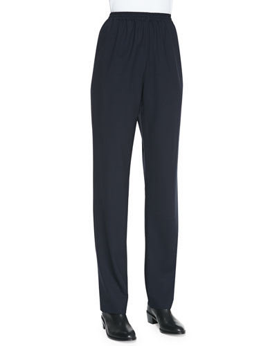 eskandar Narrow Wool-Stretch Trousers, Navy