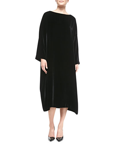 eskandar Velvet Bateau-Neck Dress, Black