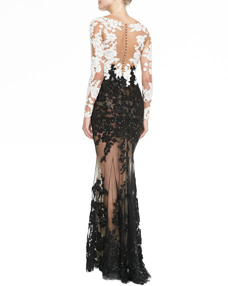 Lace-Embroidered Sheer Gown
