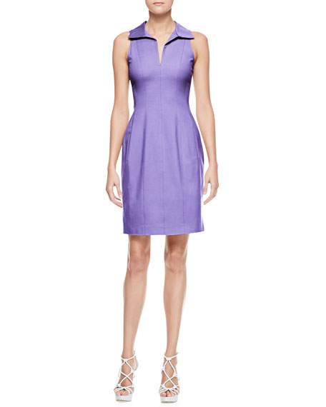 Sleeveless Stretch Cotton Shirtdress, Iris