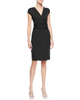 Armani Collezioni Short-Sleeve V-Neck Dress with Ruched Waist