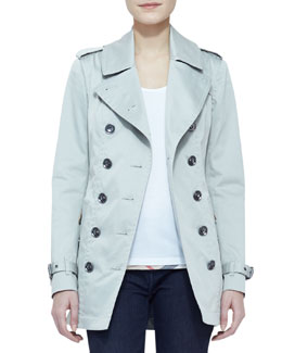 Burberry Brit Double-Breasted Trench Coat, Storm Gray