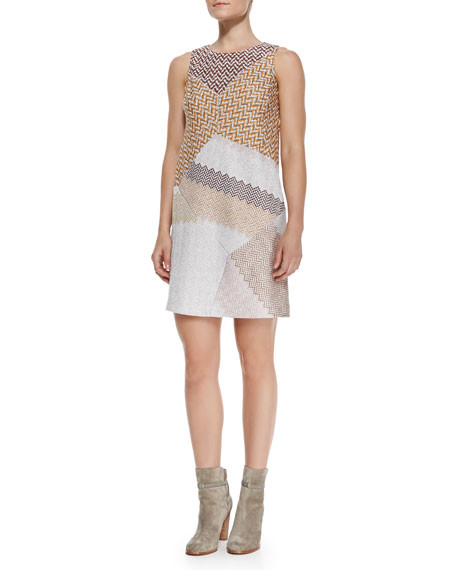 Sleeveless Metallic Patchwork Shift Dress, Pink/Orange/Multi
