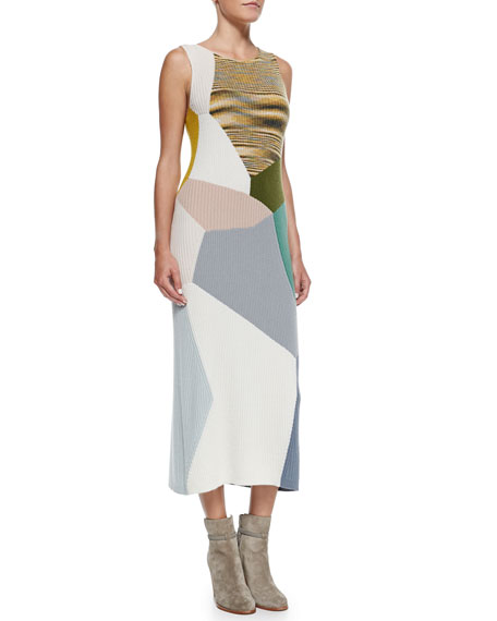 Sleeveless Colorblock Rib Knit Cashmere Dress, Olive/Multi