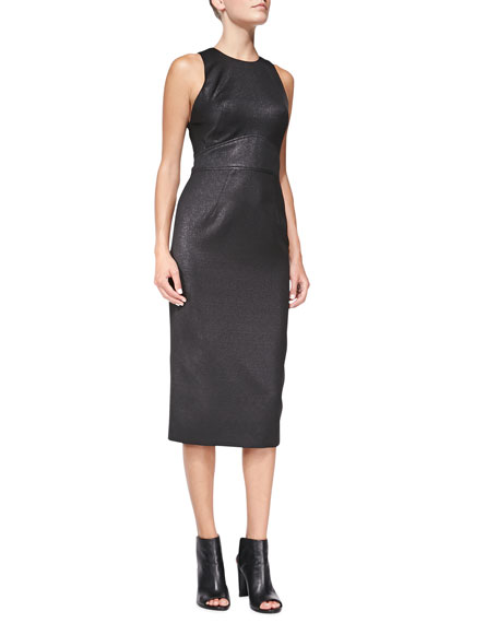 Metallic Cotton Blend Column Sheath Dress