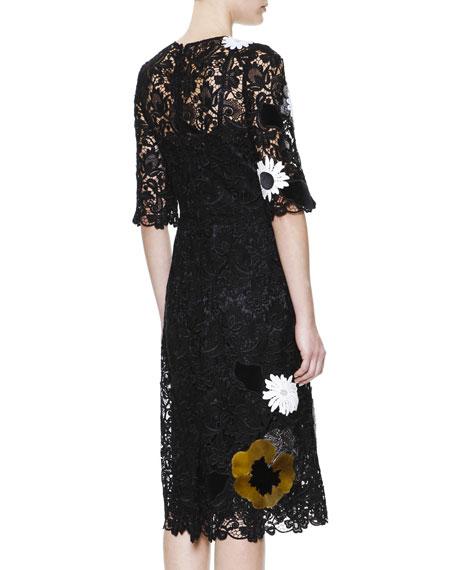 1/2-Sleeve Flower & Faux Fur Appliqué Dress