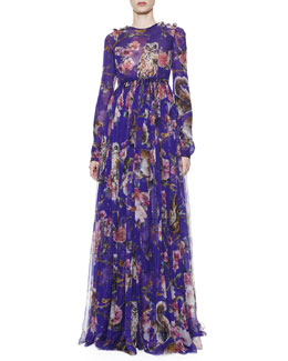 Dolce & Gabbana Owl & Squirrel-Print Gown with Jewel Button Shoulders