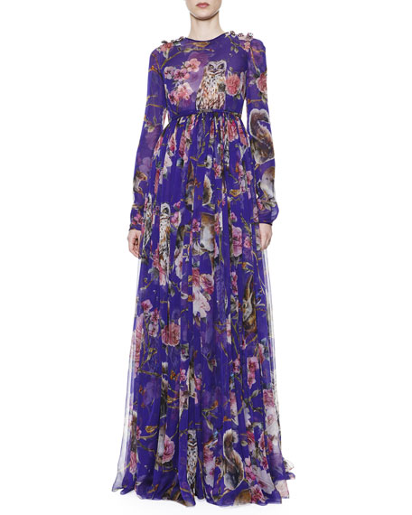 Owl & Squirrel-Print Gown with Jewel Button Shoulders