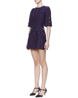 Dolce & Gabbana 1/2-Sleeve Jewel-Button Tunic Dress