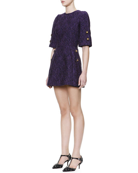 1/2-Sleeve Jewel-Button Tunic Dress