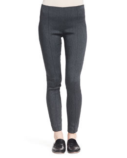 THE ROW Crossover Stretch Skinny Pants, Medium Gray