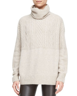 THE ROW Carrington Cable-Knit Turtleneck Sweater, Desert Beige