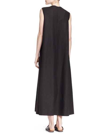 Sleeveless A-Line Melange Midi Dress