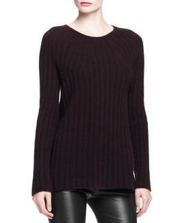THE ROW Ede Cashmere/Silk Sweater, Dark Walnut