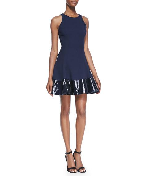 Crepe Tank Dress with Patent Leather Hem