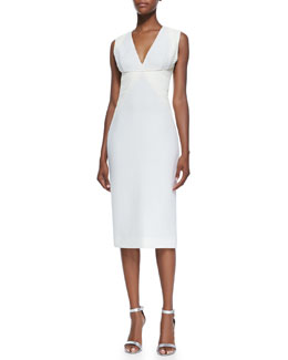 Cushnie et Ochs Sleeveless Batik-Panel Dress