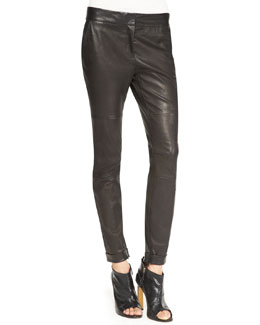 Derek Lam Moto Leather Leggings, Black