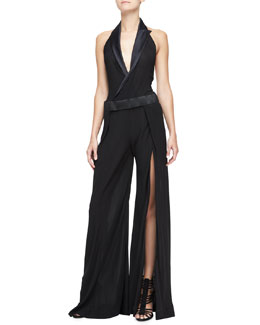 Donna Karan Collared Tux Halter Jumpsuit