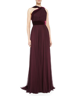 Elie Saab Halter Gown with Velvet Trim, Wine