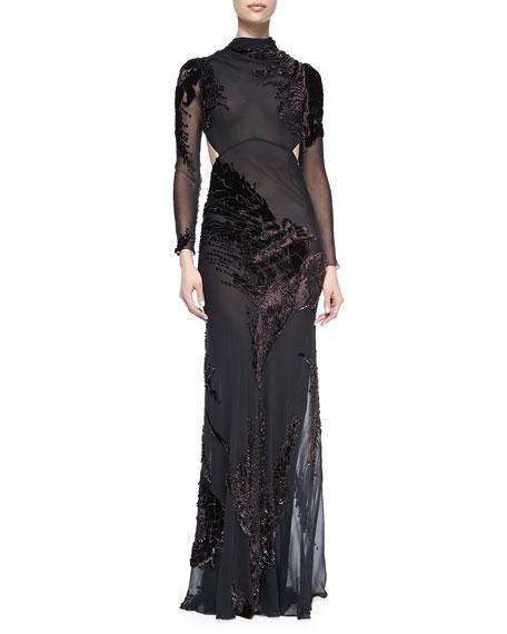 Long-Sleeve Silk Chiffon Cutout Gown with Velvet, Eggplant/Black